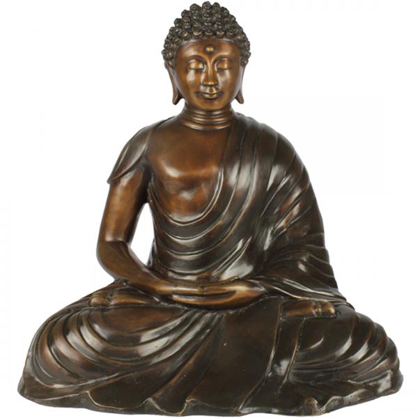 Deze Japanse Zen Boeddha is vervaardigd van brons