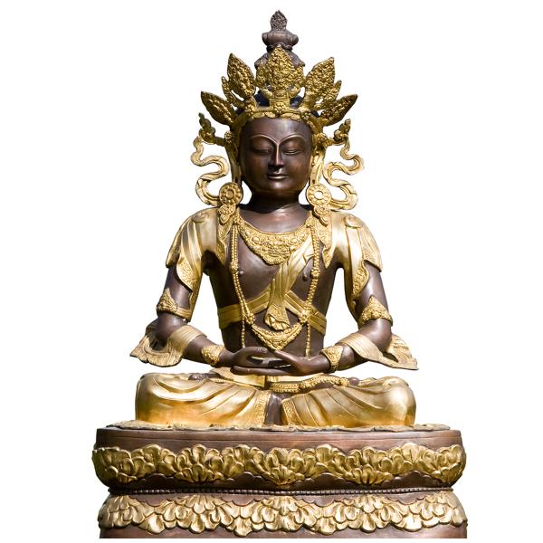 Mediterende Amitabha Boeddha brons