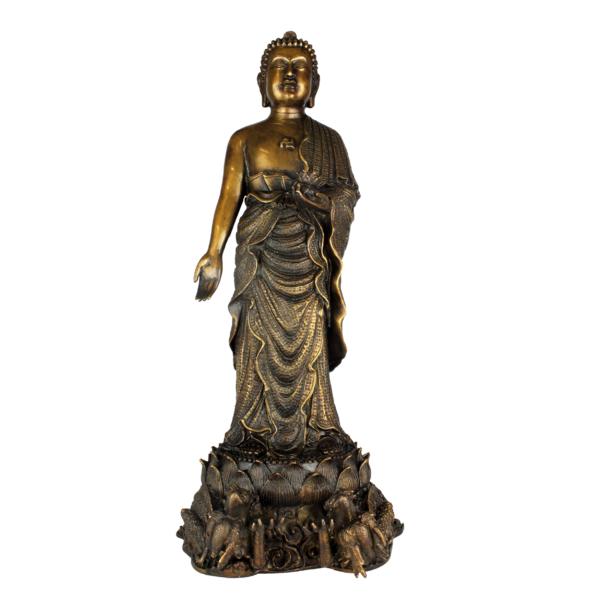 Staande Vairocana Boeddha op twee draken