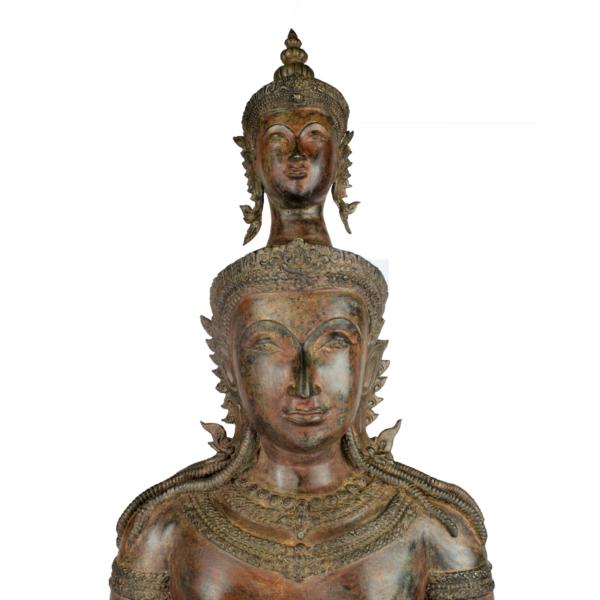 Duo Boeddha brons roodbruin