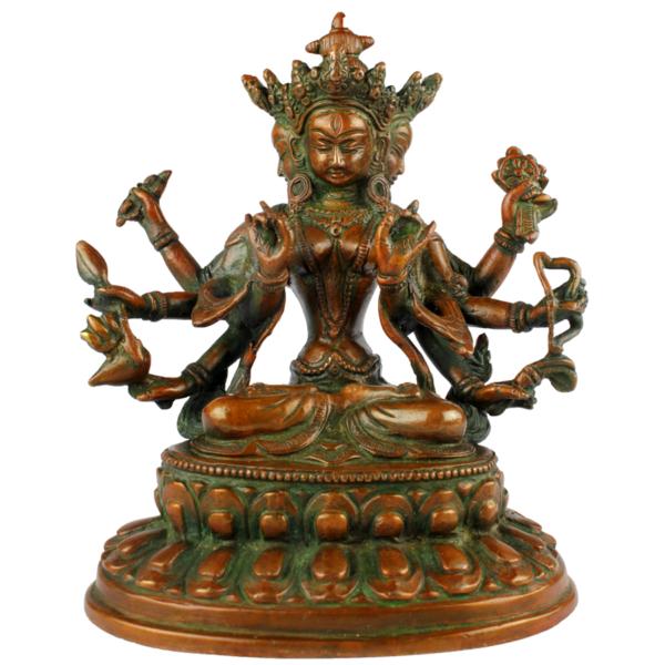 Prajnaparamita Boeddha met vier hoofden en acht armen