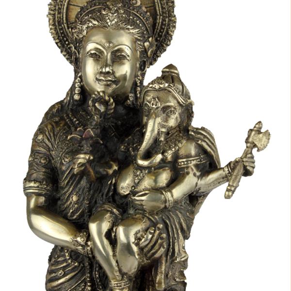 Detail van Parvati en Ganesha